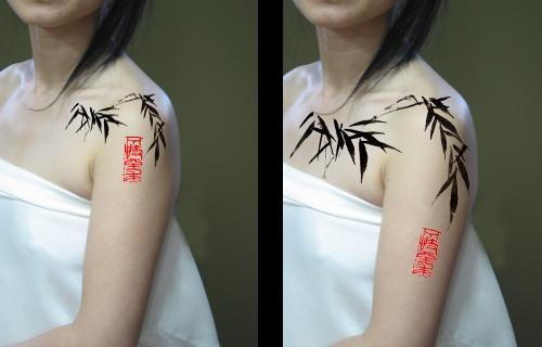 chinese calligraphy tattoo bamboo tattoo stamp tattoo - 500×320